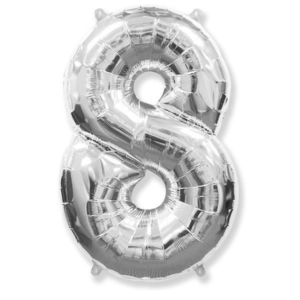 Фольгированная цифра 8, серебро