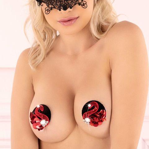 Красивый черно-красный пэстис с кристаллами Morvetima