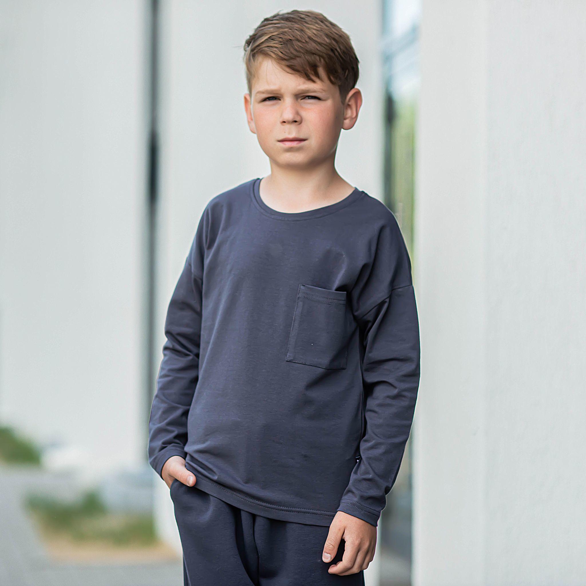Basic long-sleeved T-shirt for teens - Graphite