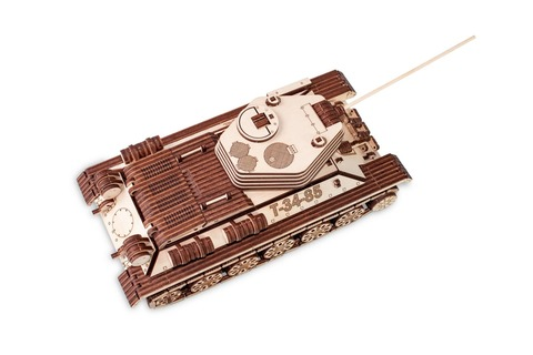 Механический Танк Т-34-85 (EWA) - Деревянный конструктор, 3D пазл, сборная модель на резиномоторе