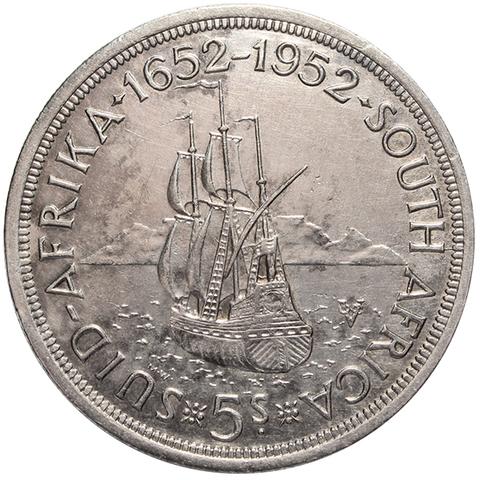 5 шиллингов. 300 лет Кейптауну. Южная Африка. Серебро. 1952 год. XF-AU