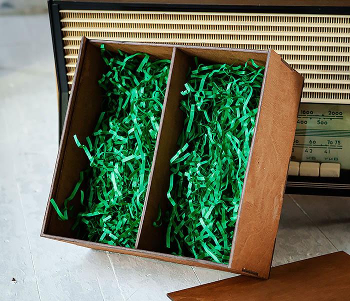 BOX235-2 Деревянная коробка для подарков с двумя отделениями (25*25*12 см) фото 06