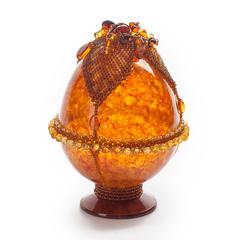 Сувенирное Пасхальное яйцо (натуральный янтарь, бисер), АВ-0743