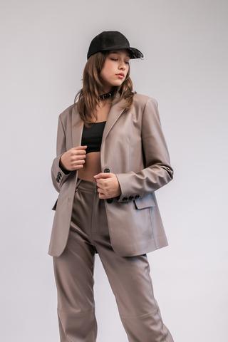 Костюм (пиджак+брюки) из эко-кожи