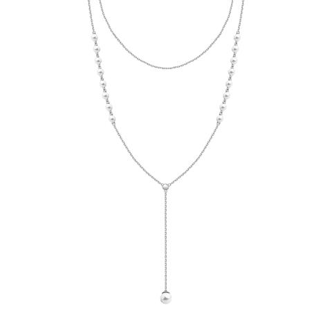 94070126 - Двухрядное колье  из серебра с жемчугом