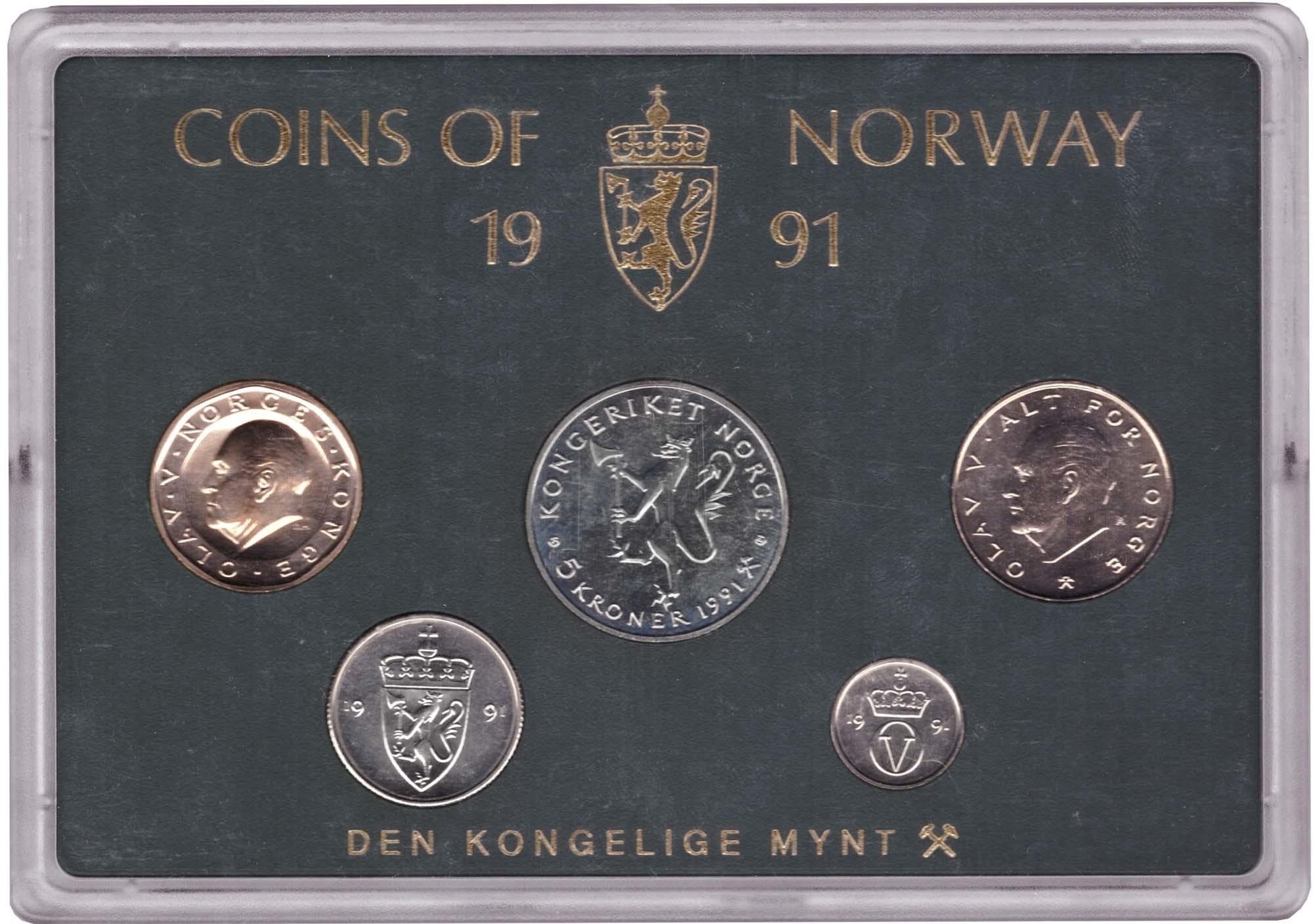 Набор монет Норвегии 1991 UNC в пластиковой упаковке