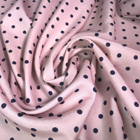Ткань шелк матовый с эластаном розовый в горошек 1071