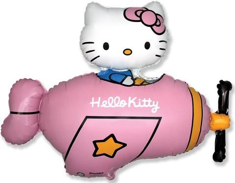 Фольгированный шар Hello Kitty в самолете