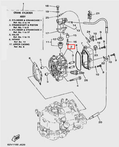 Головка блока цилиндра для лодочного мотора F5 Sea-PRO(2-2)