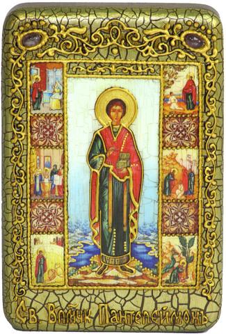 Инкрустированная Икона Святой Великомученик и Целитель Пантелеймон 15х10см на натуральном дереве, в подарочной коробке