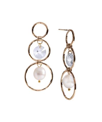 Серьги-кольца с жемчугом Aurora Tre Anelli золотистые