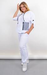 Ембер. Жіночий костюм для прогулянок батал. Білий.
