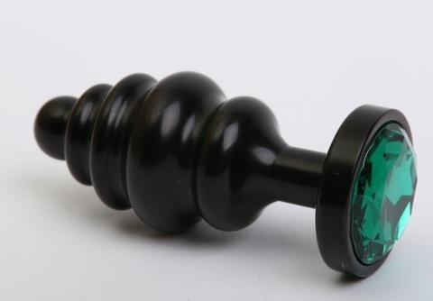 Пробка металл 7,3х2,9см фигурная черная зеленый страз 47427-6MM