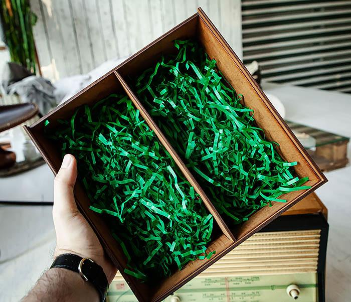 BOX235-2 Деревянная коробка для подарков с двумя отделениями (25*25*12 см) фото 08