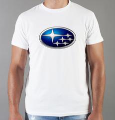 Футболка с принтом Субару (Subaru) белая 001