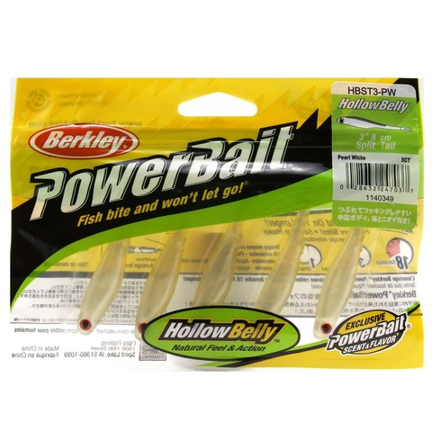 Приманка силиконовая Berkley Powerbait Hollow Belly Split Tail HBST3-PW Pearl White 3