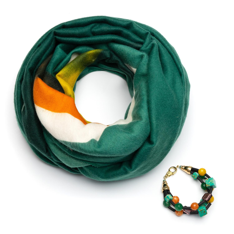 Зеленый кашемировый шарф