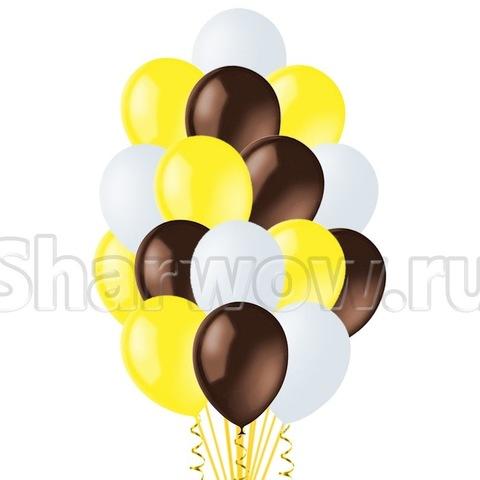 Облако воздушных гелиевых шаров Желтый с шоколадным