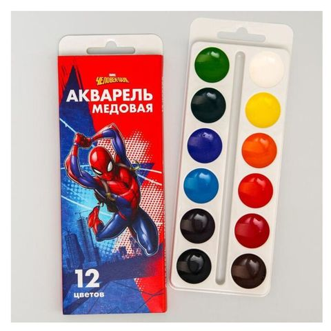 Акварель MARVEL Человек-паук медовая 12 цв 4846912 РОССИЯ
