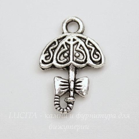 """Подвеска """"Зонтик"""" 19х13 мм (цвет - античное серебро)"""