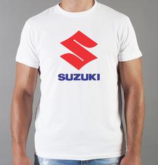Футболка с принтом Сузуки (Suzuki) белая 001