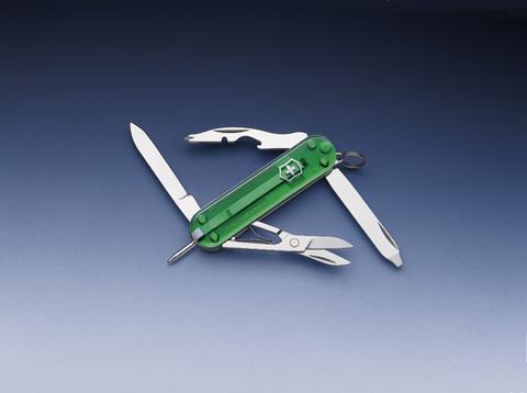 Нож-брелок Victorinox Classic Manager, 58 мм, 10 функций, зеленый полупрозрачный