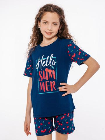 Хлопковый костюм детский с шортами синий для девочки купить