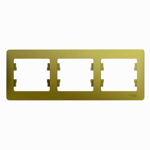 Рамка на 3 поста, горизонтальная. Цвет Фисташковый. Schneider Electric Glossa. GSL001003