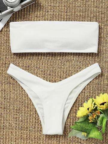 купальник раздельный бандо белый в рубчик на шнуровке сзади 1