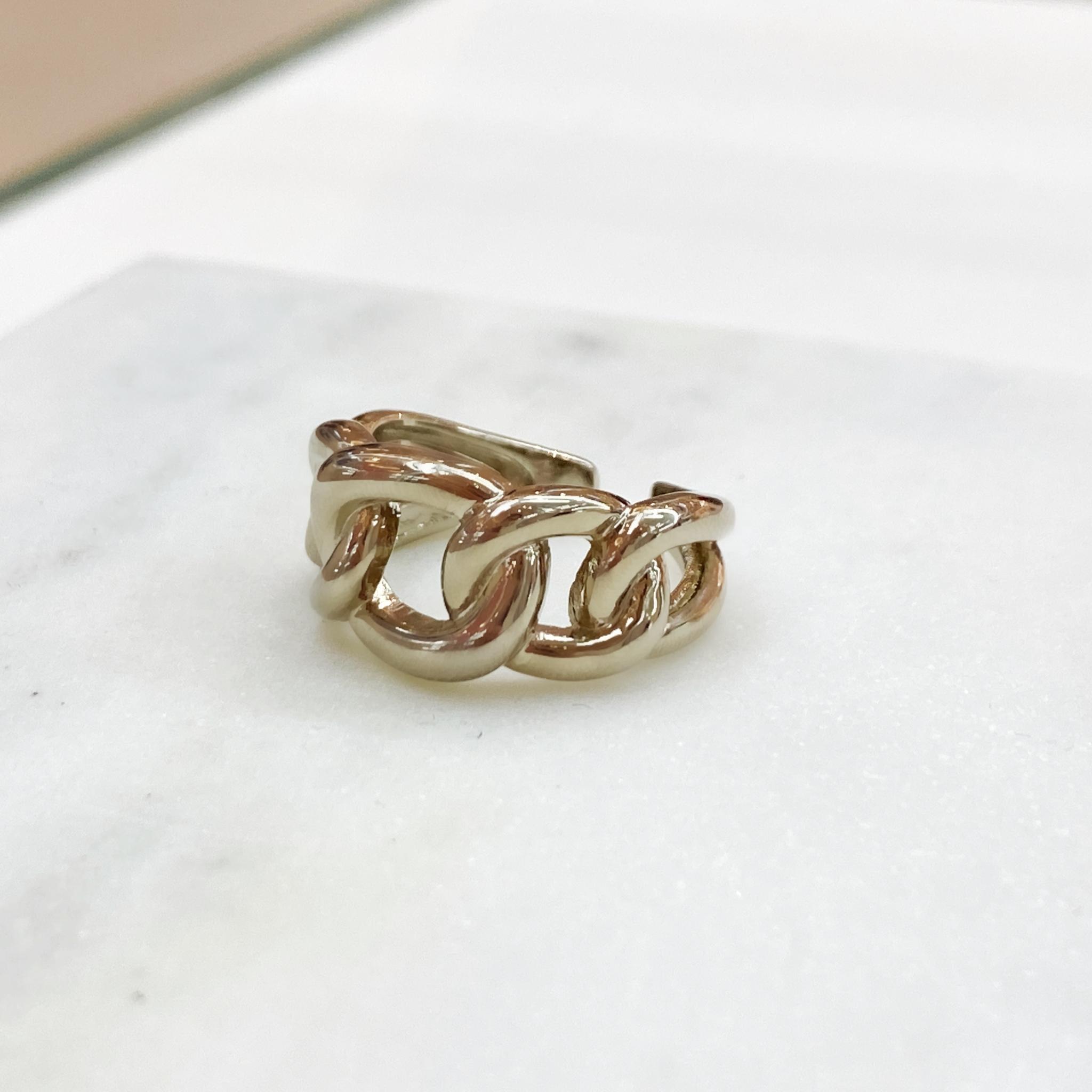 Кольцо Звенья free size (брасс)