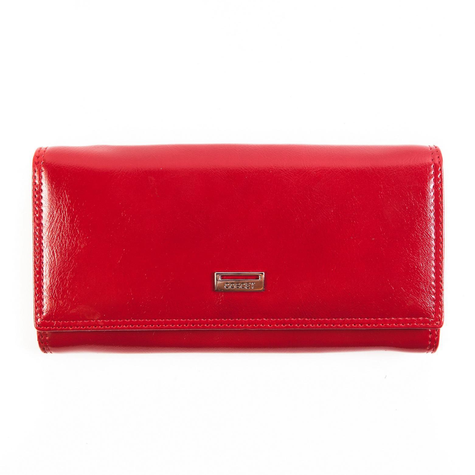 Стильный красный женский кошелёк из из искусственной кожи с 3 большими отделениями, двойным отделением в монетнице, 2 потайными карманами, окошком для пропуска и 8 кармашками для пластиковых карт CS208-01В