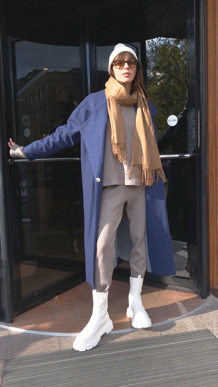 Пальто с большим лацканом, синий