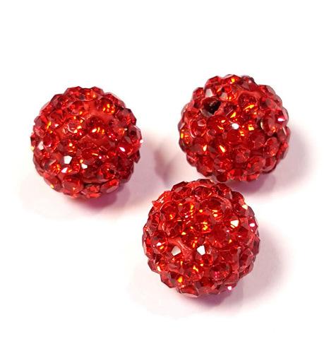 Бусина шамбала с кристаллами 10 мм красная