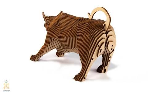 Параметрический Бык (UNIWOOD) - Деревянный конструктор, сборная модель, сборка без клея