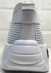 Летние туфли кроссовки на танкетке женские Wollen P029-259-02 All White.