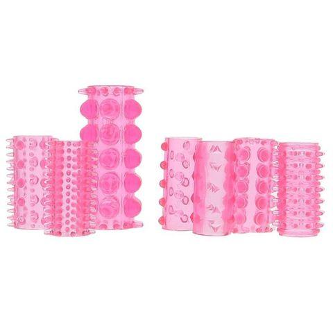 Набор из 7 розовых насадок на пенис ONE-A-DAY PENIS SLEEVES PINK