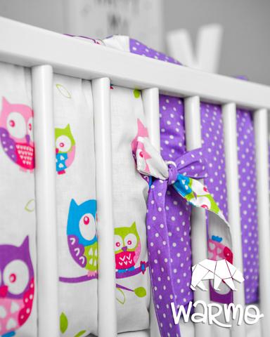 Набір бортиків-подушок в ліжечко 30x30см СОВИ