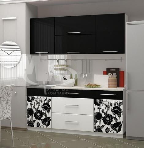 Кухонный гарнитур Маки черные МДФ 1,8