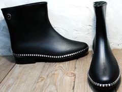 Резиновые полусапожки женские черные Hello Rain Story 1019 Black.