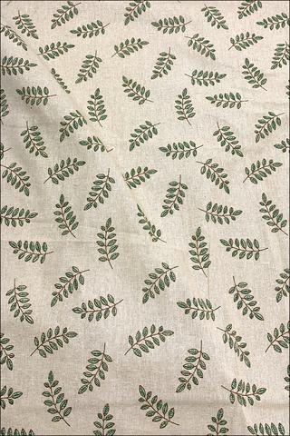 Зеленые веточки, хлопок-лен