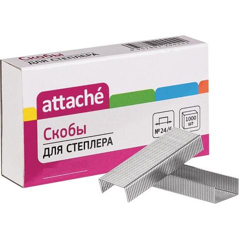 Скобы для степлера №24/6 Attache никелированные (1000 штук в упаковке)