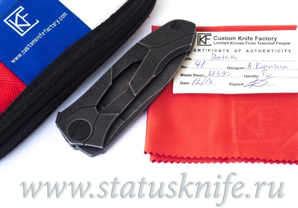 Нож Ратата BLK #41 CKF (Коныгин, М390, титан, подшипники) Ratata