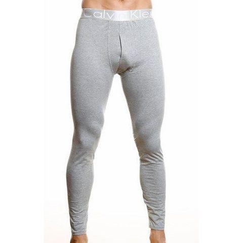 Мужские кальсоны серые с серебристой резинкой Calvin Klein Steel Long Johns Grey