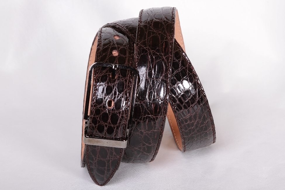 Мужской ремень из крокодила коричневого цвета 35-10