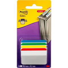 Клейкие закладки Post-it пластиковые 4 цвета по 6 листов 50.8х38.1 мм со сгибом