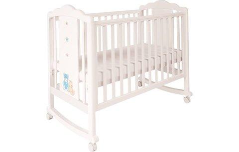 Кроватка детская Polini kids Classic 621 Плюшевые Мишки белый-синий капри