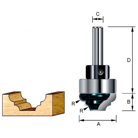 Фреза пазовая фасонная с хвостовым подшипником 22*40*9,9*8*22 мм; R=3,18 мм