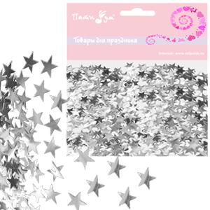 Конфетти фольгированное Звезды серебрянные14гр