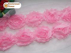 Шифоновые шебби-розы розовые  диаметр 6 см
