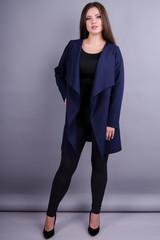 Шерон. Практичний жіночий кардиган великих розмірів. Синій.